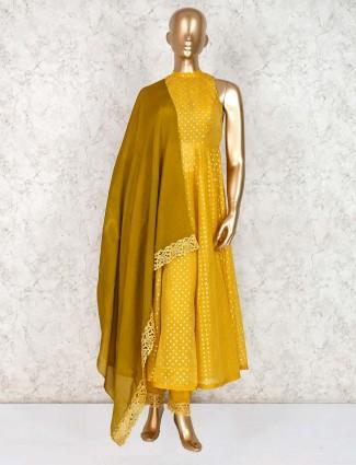 Yellow cotton silk bandhgala salwar suit