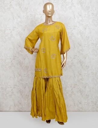Yellow cotton silk punjabi sharara suit for party
