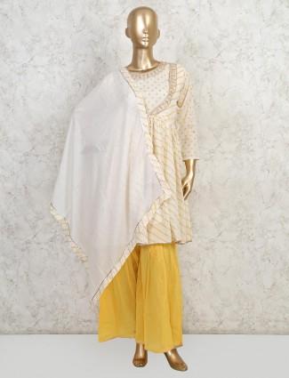 Yellow cotton wedding wear sharara suit
