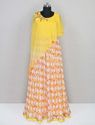 Yellow designer georgette salwar kameez for wedding