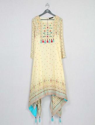 Yellow festive special wear cotton kurti