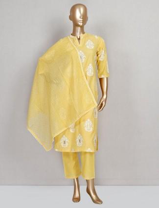 Yellow festive wear cotton suit