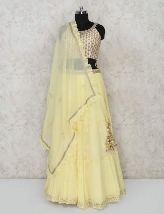 Yellow georgette wedding function lehenga choli