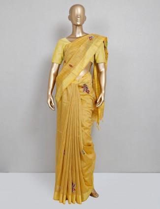 Yellow handloom cotton festive wear saree
