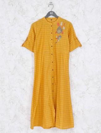Yellow hue checks cotton kurti