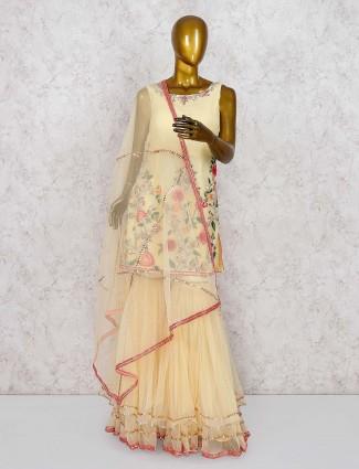 Yellow hue cotton fabric pretty punjabi sharara suit