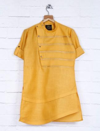 Yellow hue designer festive kurta