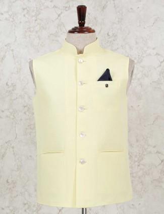 Yellow hue solid cotton silk waistcoat