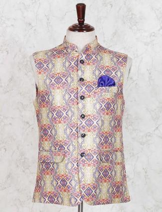 Yellow printed cotton jute waistcoat