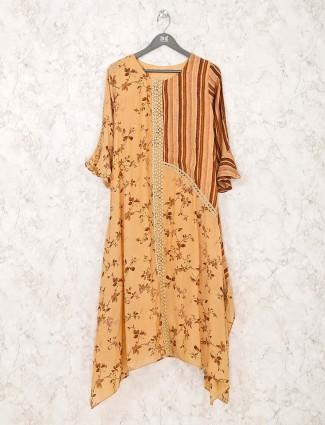 Yellow printed design cotton kurti