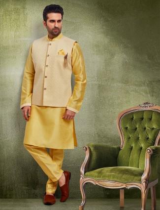 Yellow raw silk mens waistcoat set
