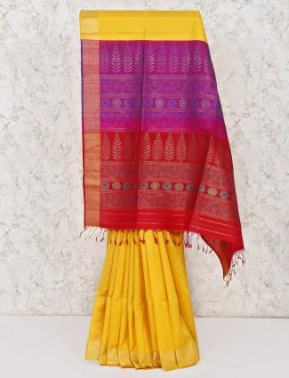 Yellow saree in south silk