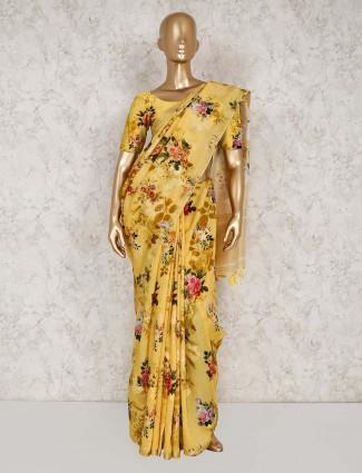 Yellow semi silk festive wear printed saree