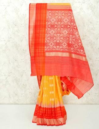Yellow semi silk indian saree