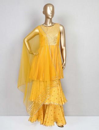 Yellow silk punjabi designer sharara suit
