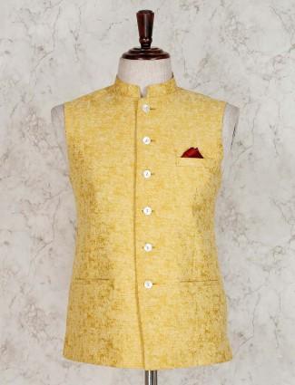 Yellow terry rayon mens waistcoat