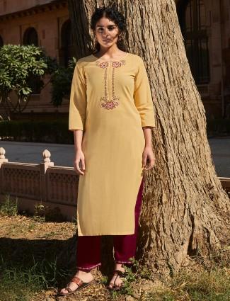 Yellow thread woven cotton punjabi pant suit