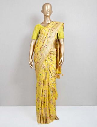 Yellow wedding semi banarasi silk saree
