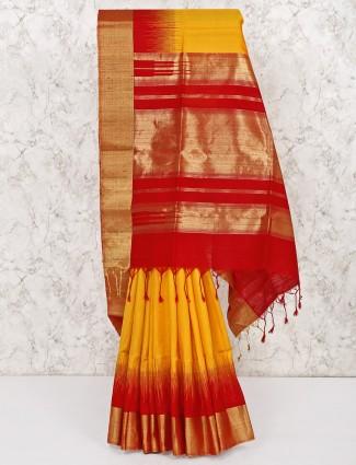 Yellow wedding south pure silk pretty saree