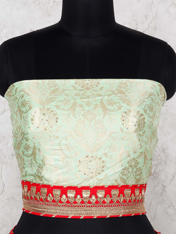 98f9068cda Aqua Hue Banarasi Silk Fabric Semi Stitched Lehenga Choli. Hover to zoom
