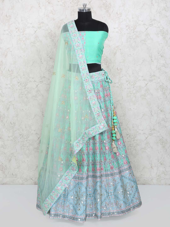 4266c31cba Aqua hue silk printed lovely lehenga choli - G3-WLC4223 | G3fashion ...