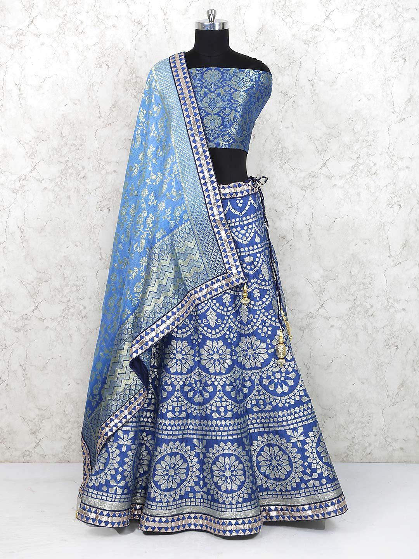 eb5984b1fc Banarasi silk fabric semi stitched lehenga choli in blue color - G3 ...
