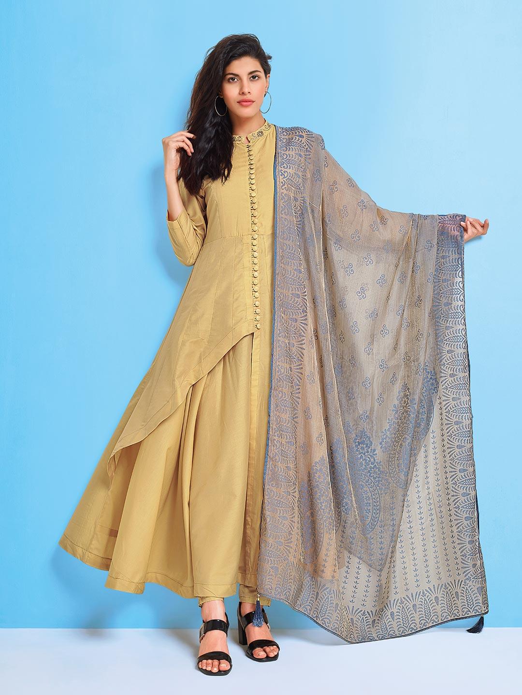 7cbf000c49 Beige hue cotton silk festive wear punjabi salwar suit - G3-WSS16614 ...