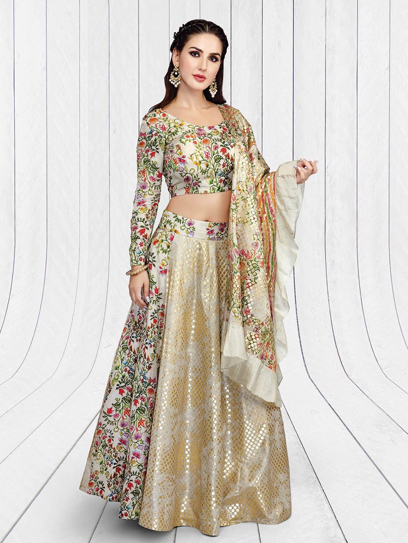 5b638ab877 Beige hue silk festive lehenga choli - G3-WLC3408 | G3fashion.com
