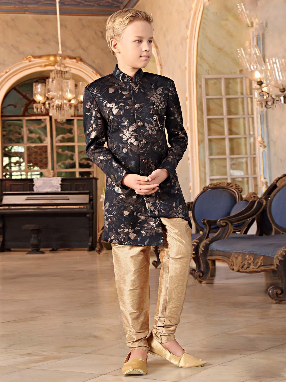 db8eeddef3 Black printed terry rayon party wear indo western - G3-BIW0798 |  G3fashion.com