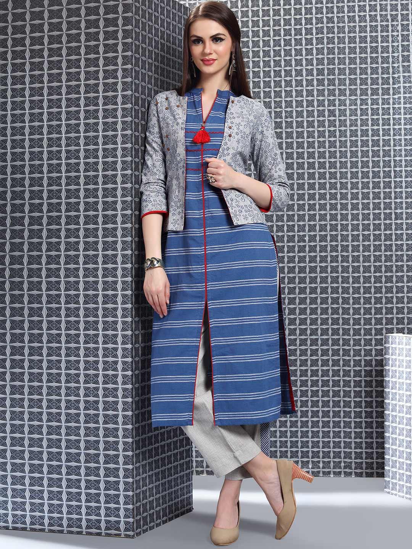4d31e987f3 Blue color cotton jacket style punjabi salwar suit - G3-WSS16080 ...