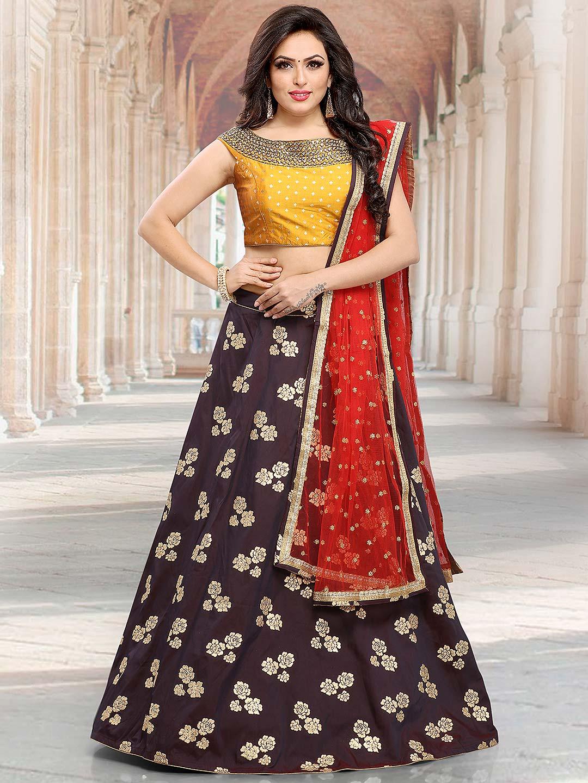 7a12a790d0 Coffee brown cotton silk festive lehenga choli - G3-WLC4512 ...