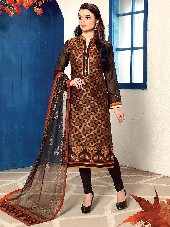 3599cd23d3 Cotton silk churidar salwar suit in black - G3-WSS16025   G3fashion.com
