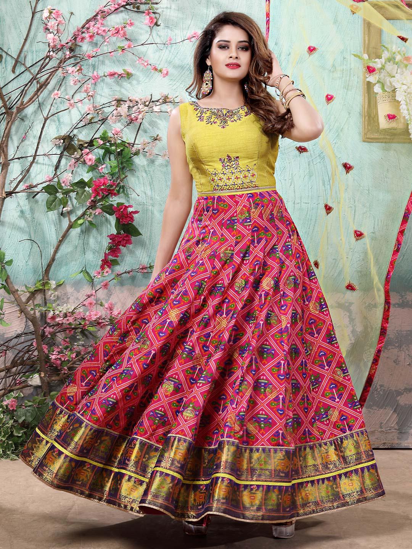 1e023c07dc Cotton silk floor length anarkali salwar suit in pink and green color ...