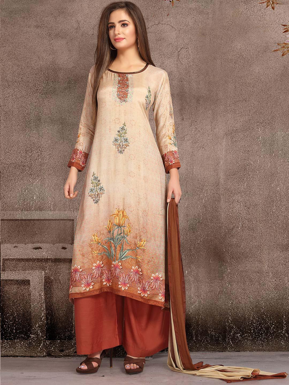 50d0394296 Cream color cotton festive punjabi salwar suit - G3-WSS14001 ...