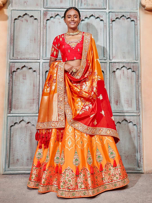 18baa9fd6d Exclusive orange banarasi silk semi stitched lehenga choli - G3 ...