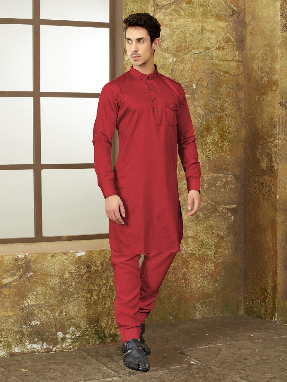 c17a62d510 Festive wear red color pathani suit - G3-MPS0441 | G3fashion.com