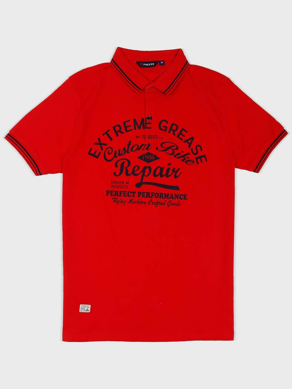 Freeze red printed cotton fabric t-shirt - G3-MTS8460 | G3fashion com