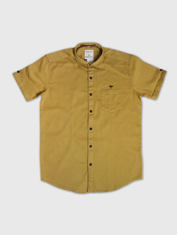 Gianti plain mustard yellow color shirt - G3-MCS5670   G3fashion com