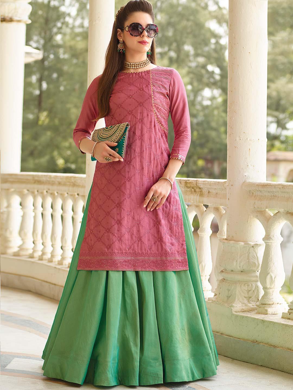 c1504eff37 Green and rose pink cotton silk lehenga cum salwar suit - G3 ...