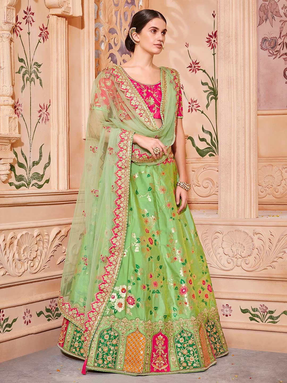 8294f1ec15 Green hue banarasi silk semi stitched lehenga choli - G3-WLC2899 ...
