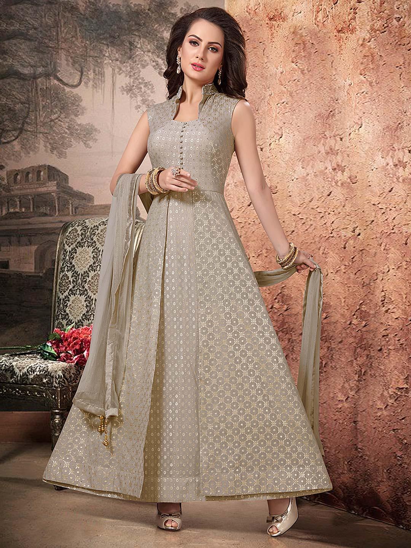 60a4168cf2 Grey hue cotton silk floor length designer anarkali salwar suit - G3 ...