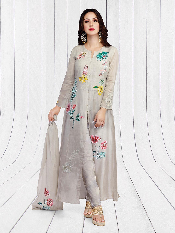 003848fdaf Grey hue linen festive salwar suit - G3-WSS14226 | G3fashion.com