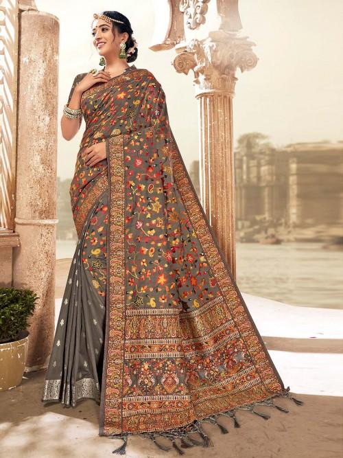 Brown Banarasi Silk Saree In Zari And Thread Weaving For Wedding