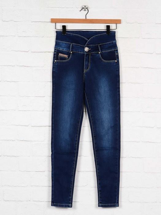 Navy Blue Casual Wear High Waist Denim Jeans
