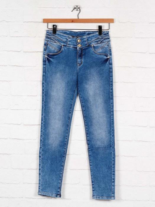 Washed Denim Jeans In Blue