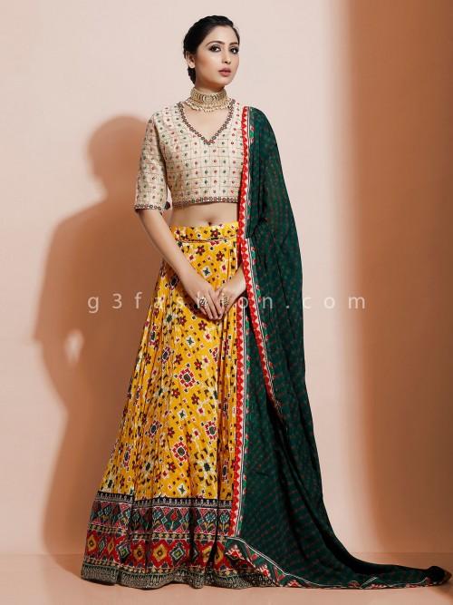 Yellow And Green Patola Silk Lehenga Choli For Wedding Function