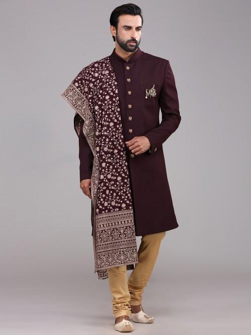 A Royal Wine Maroon Terry Rayon Sherwani Wedding Wear