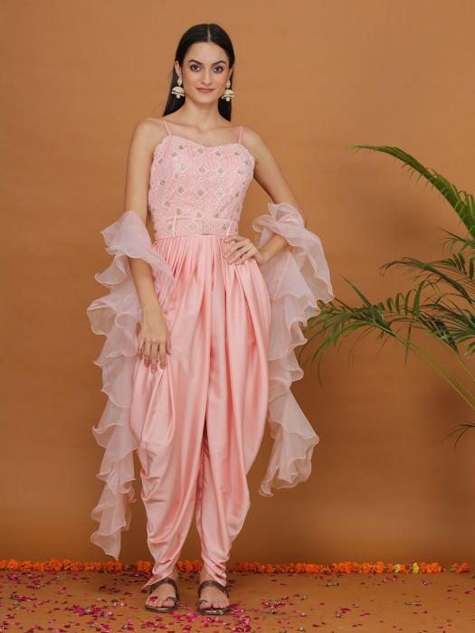 Adorable Designer Light Pink Satin Dhoti Suit