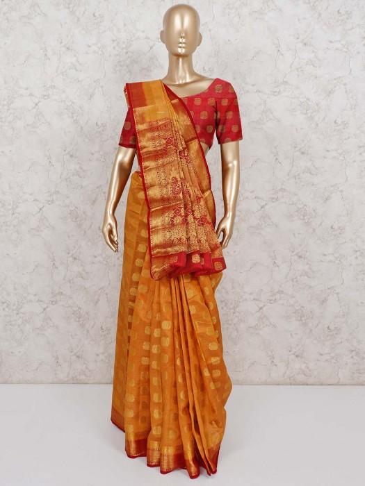 Adorable Orange Semi Cotton Silk Saree