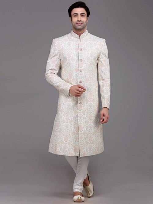 Adorable White Silk Sherwani Set